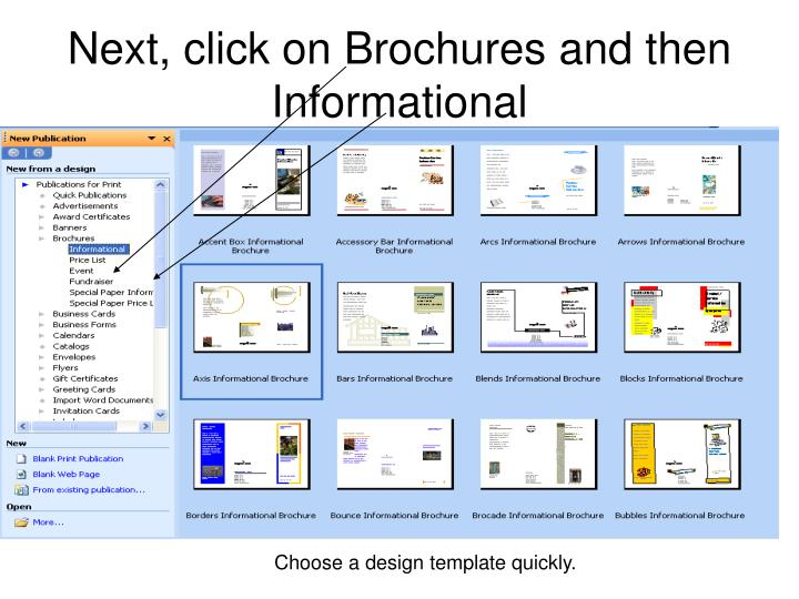 Next click on brochures and then informational