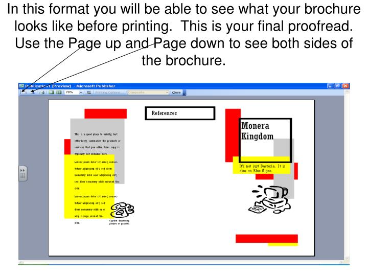 In this format you will be able to see what your brochure looks like before printing.  This is your final proofread.
