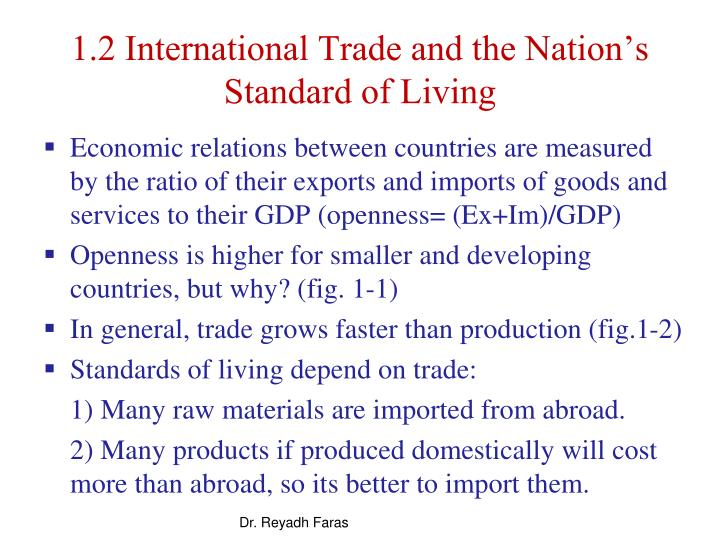 1.2 International Trade and the Nation's Standard of Living