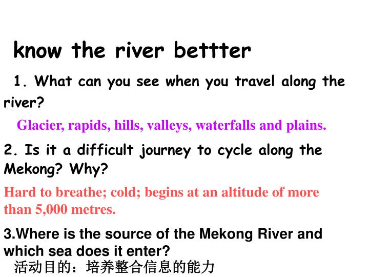 know the river bettter