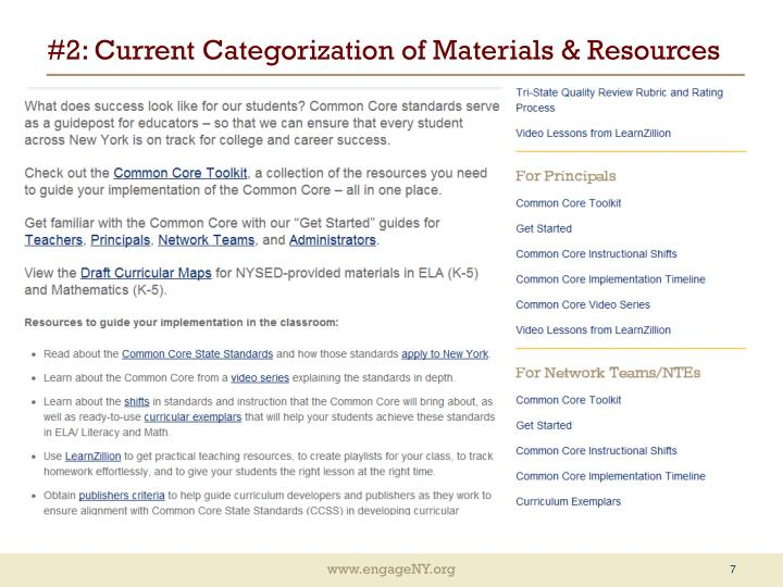 #2: Current Categorization of Materials & Resources