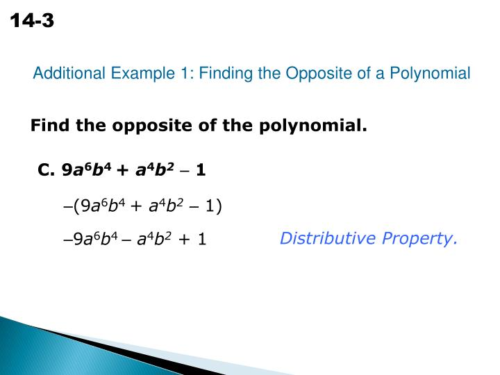 Additional Example 1: Finding the Opposite of a Polynomial