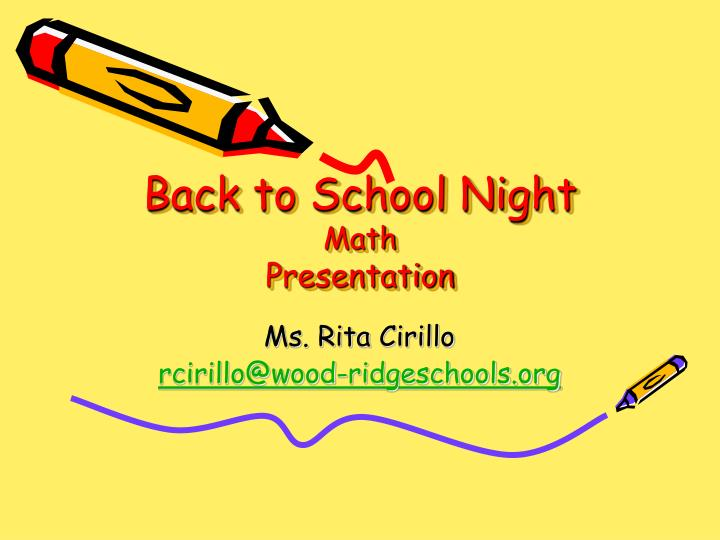 Back to school night math presentation