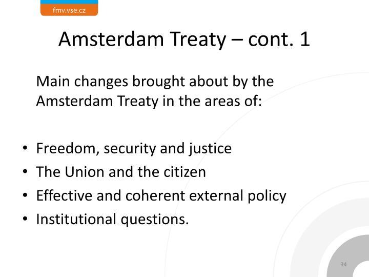 Amsterdam Treaty – cont. 1