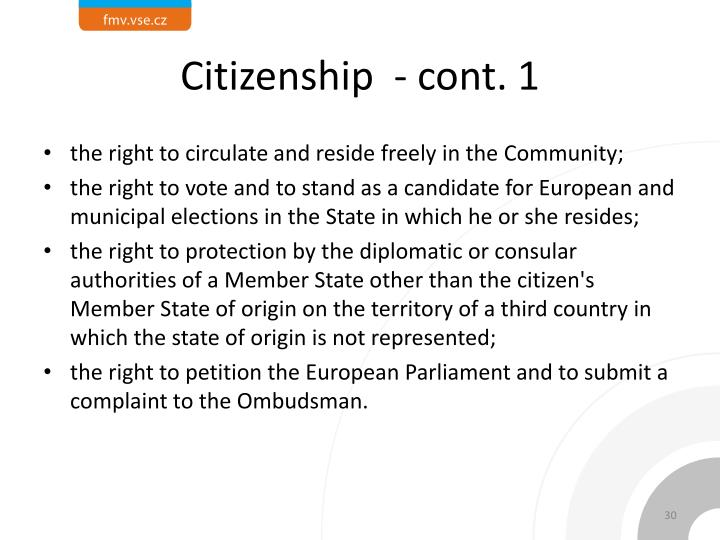 Citizenship  - cont. 1