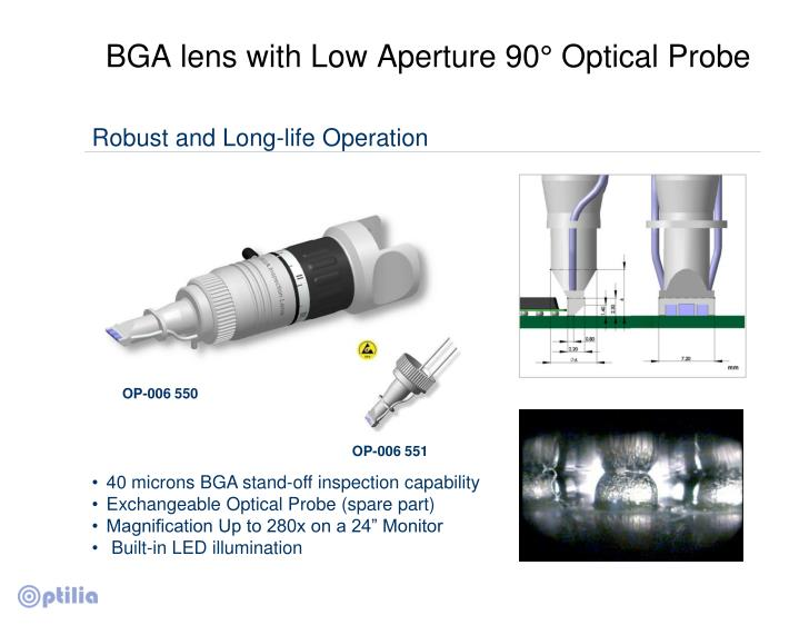 BGA lens with Low Aperture 90° Optical Probe