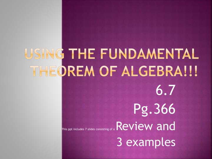 using the fundamental theorem of algebra