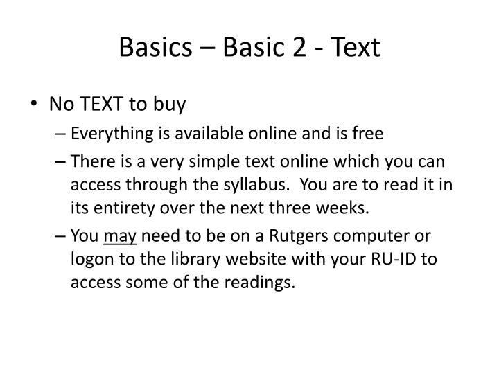 Basics – Basic 2 - Text