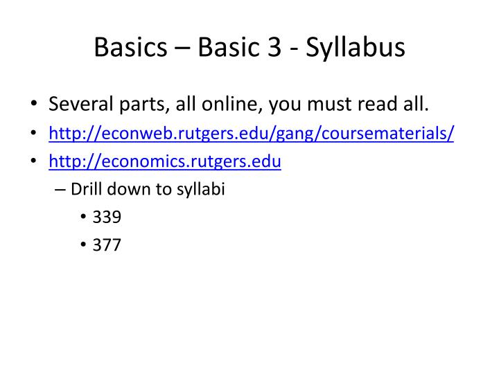 Basics – Basic 3 - Syllabus