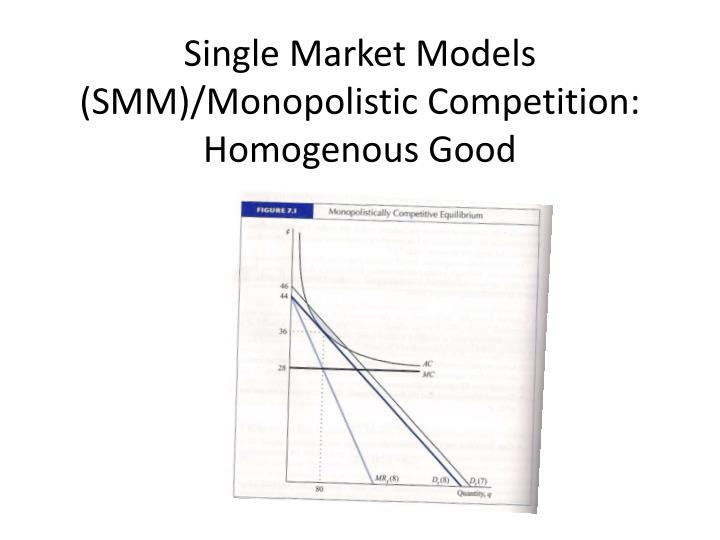Single Market Models (SMM)/Monopolistic Competition: Homogenous