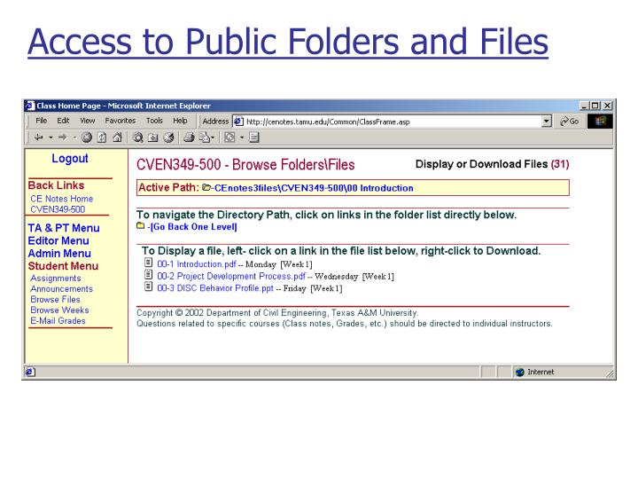 Access to Public Folders and Files