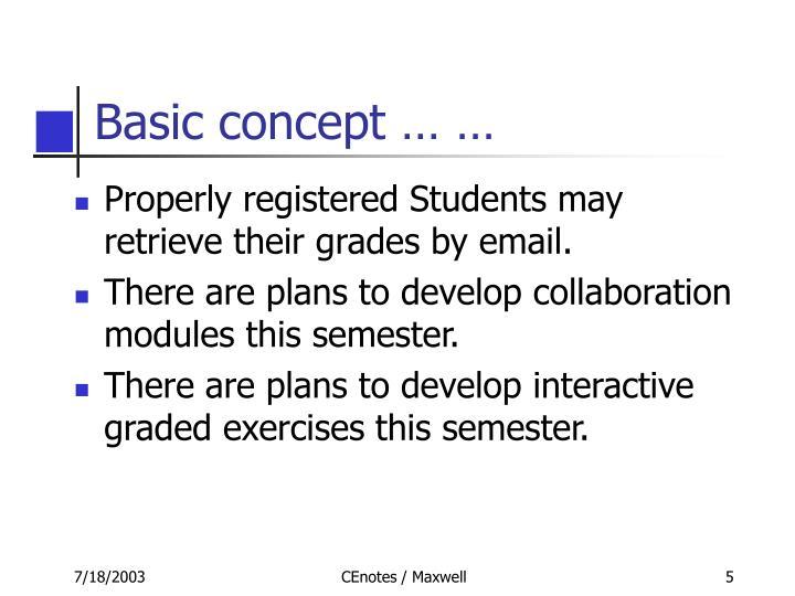 Basic concept … …