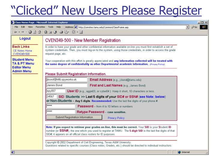 """Clicked"" New Users Please Register"