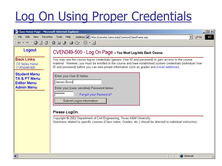 Log On Using Proper Credentials