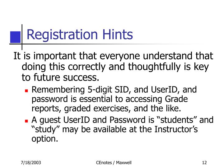 Registration Hints
