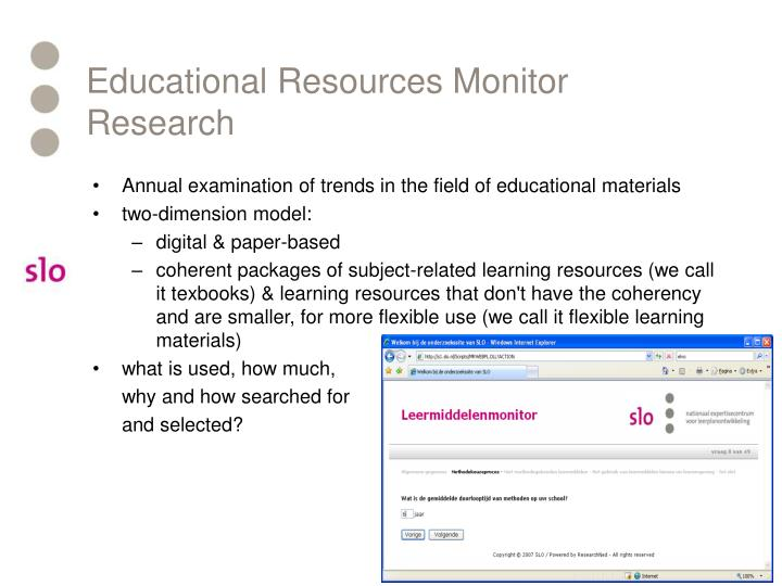 Educational Resources Monitor Research