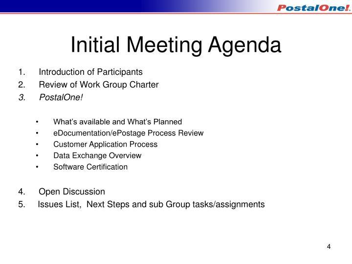 Initial Meeting Agenda
