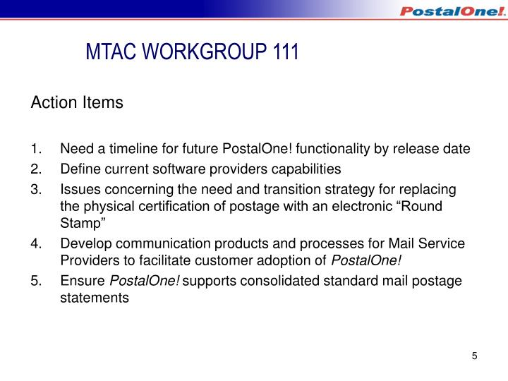 MTAC WORKGROUP 111