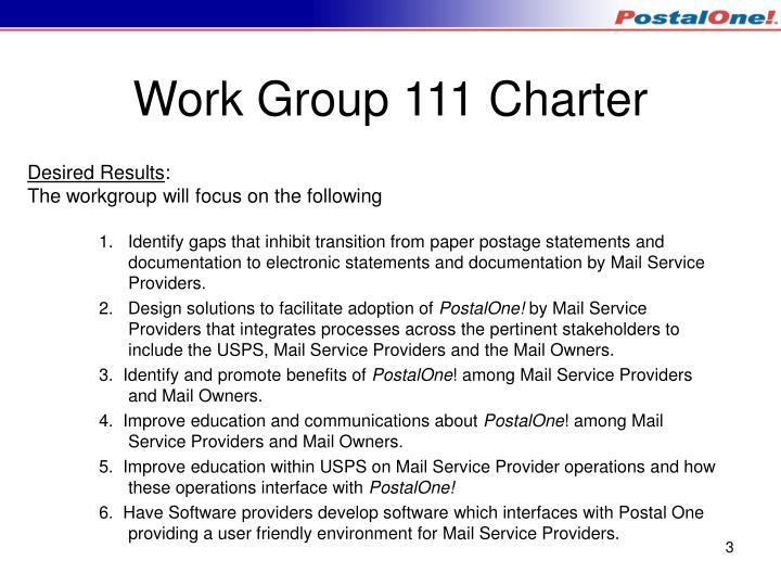 Work Group 111 Charter