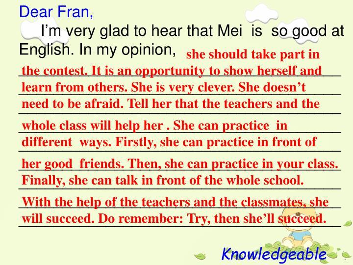 Dear Fran,