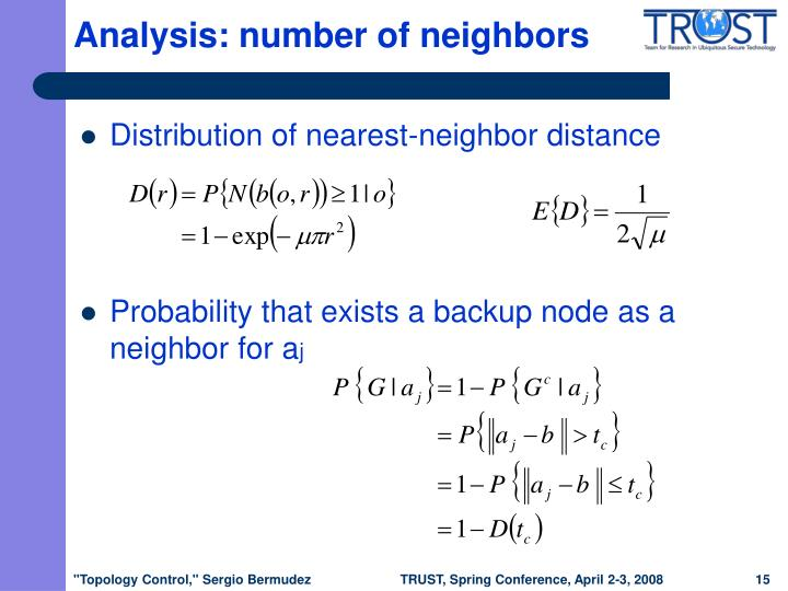 Analysis: number of neighbors