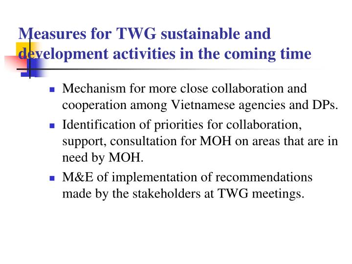 Measures for TWG sustainable and development activities in the coming time