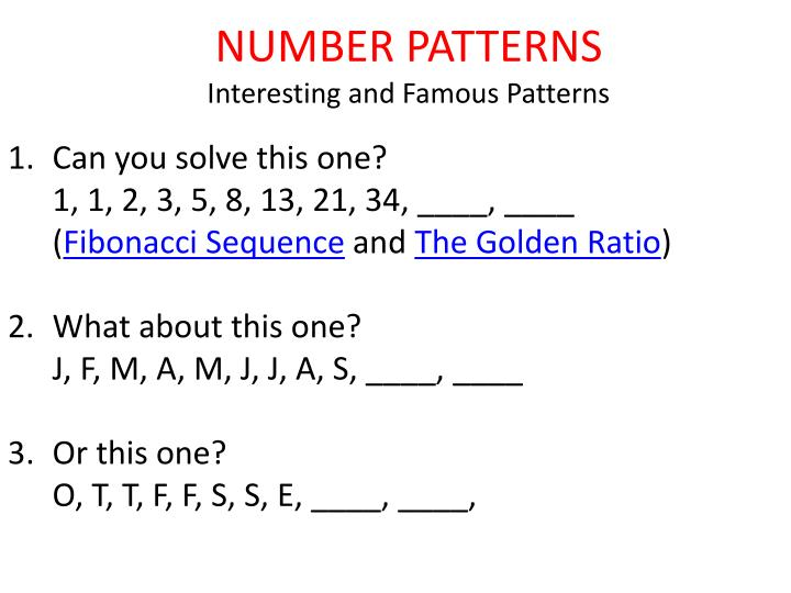 Number patterns interesting and famous patterns