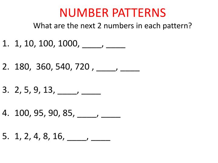 Number patterns what are the next 2 numbers in each pattern