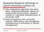 assessing research activities in czech university context 4
