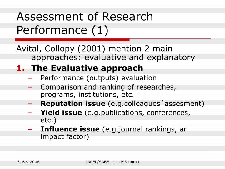 Assessment of research performance 1