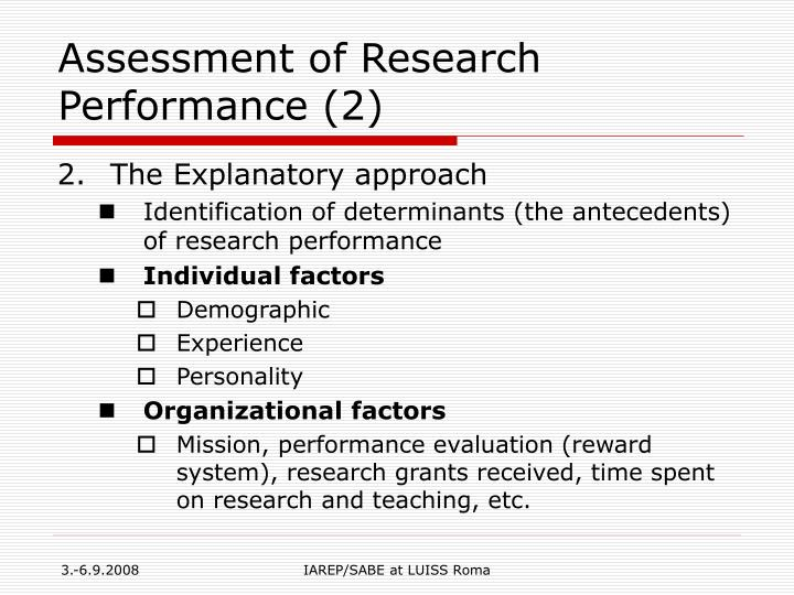 Assessment of Research Performance