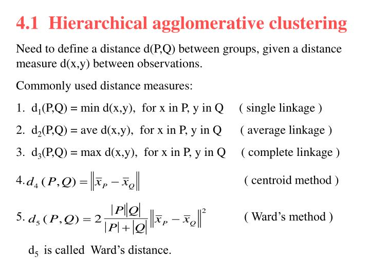 4.1  Hierarchical agglomerative clustering