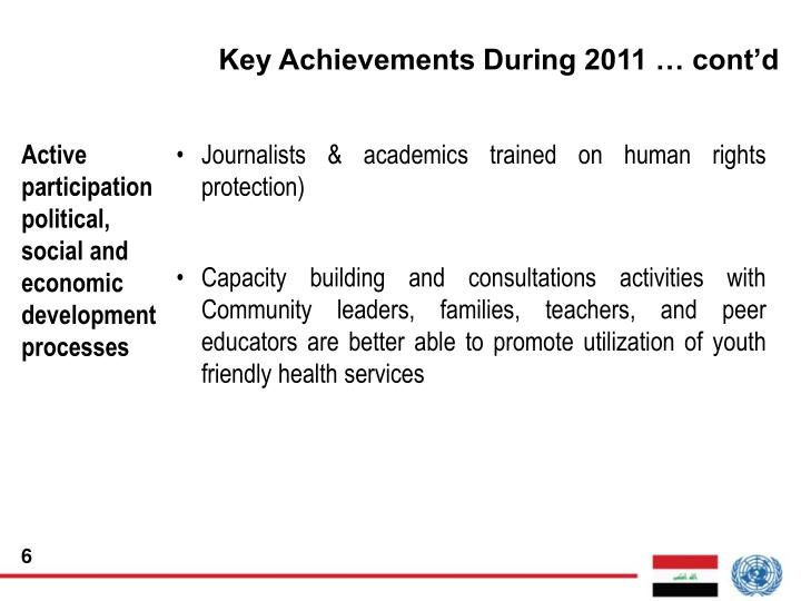 Key Achievements During 2011 … cont'd