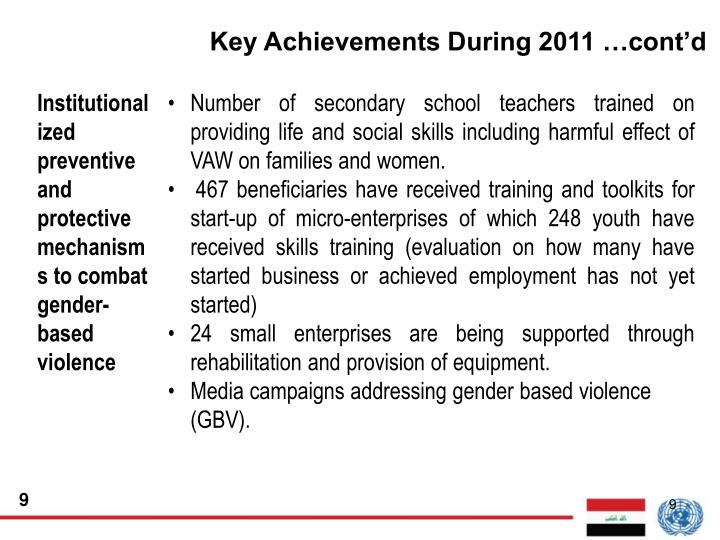 Key Achievements During 2011 …cont'd