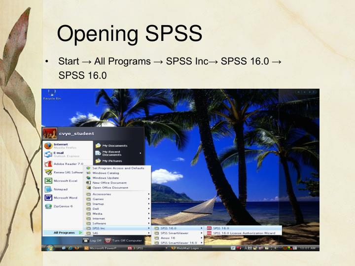 Opening SPSS