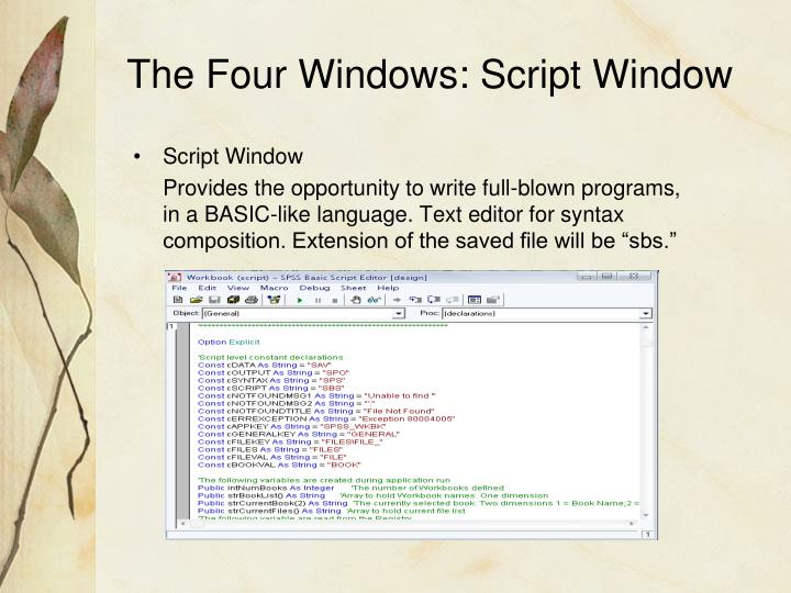 The Four Windows: Script Window