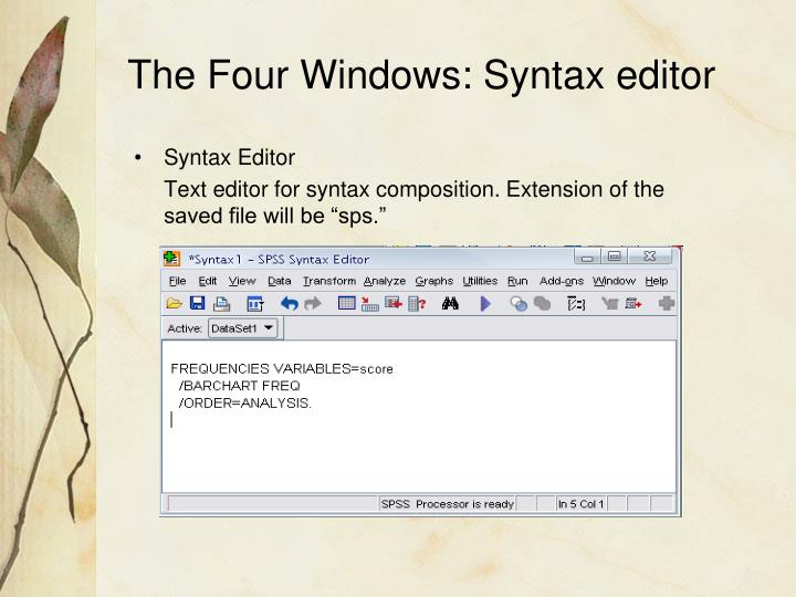 The Four Windows: Syntax editor