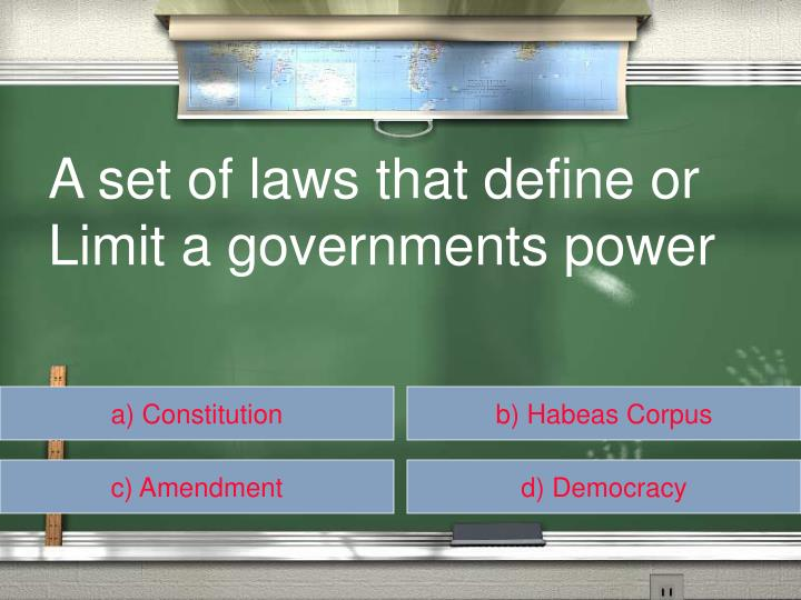 A set of laws that define or