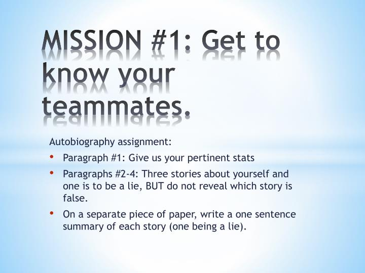 Mission 1 get to know your teammates