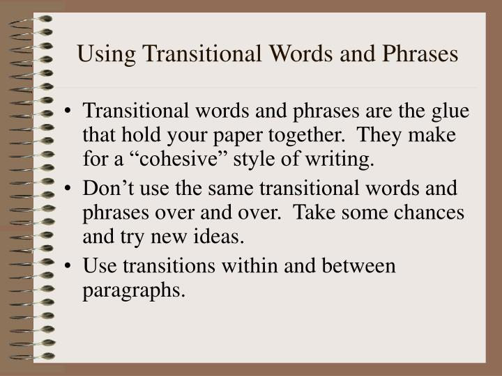 Using Transitional Words and Phrases