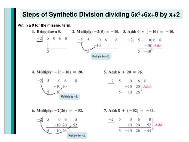 Steps of Synthetic Division dividing 5x