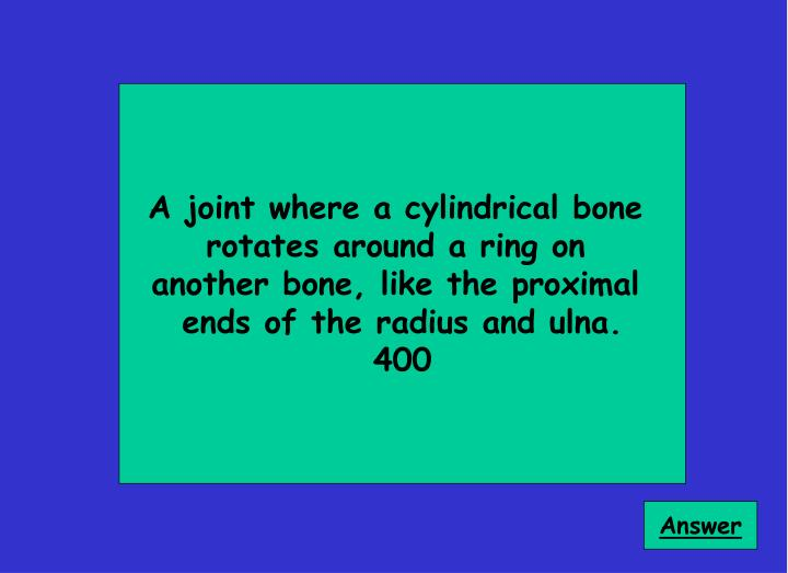 A joint where a cylindrical bone