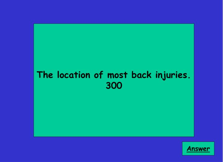 The location of most back injuries.