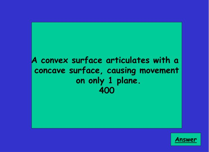 A convex surface articulates with a