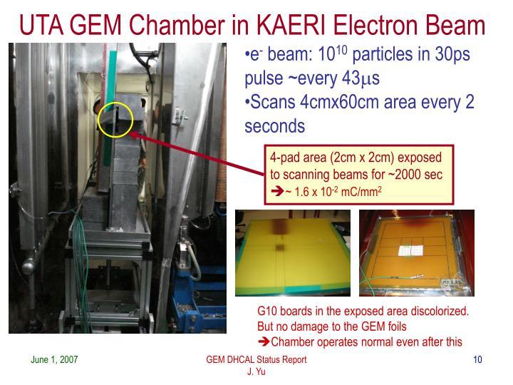 UTA GEM Chamber in KAERI Electron Beam