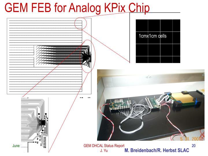 GEM FEB for Analog KPix Chip