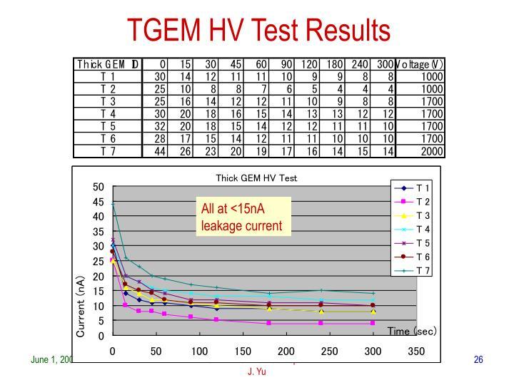 TGEM HV Test Results