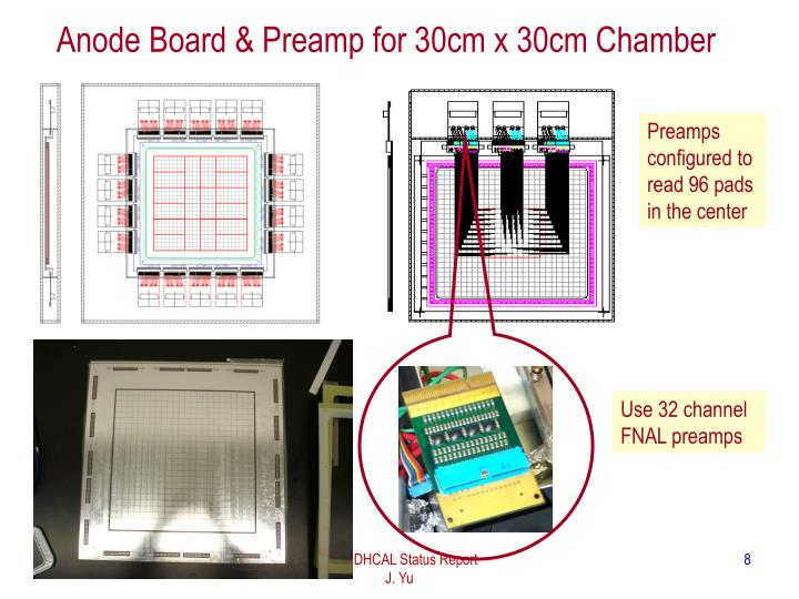 Anode Board & Preamp for 30cm x 30cm Chamber