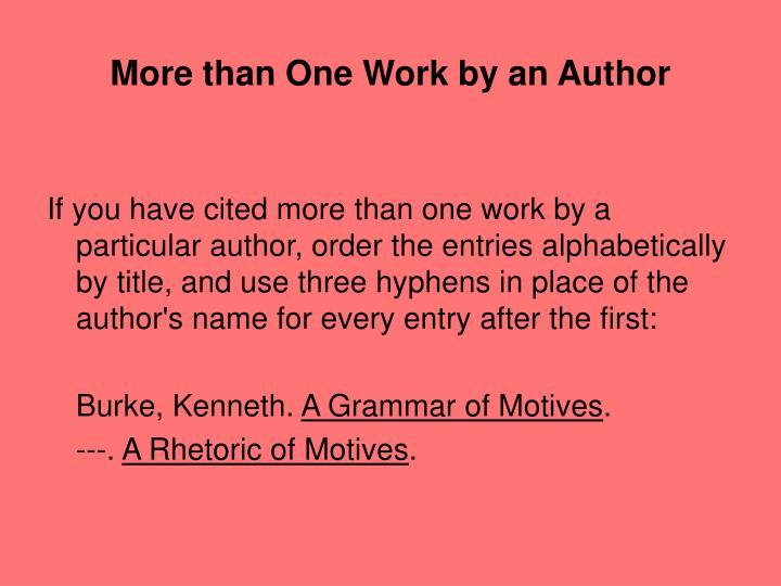 More than One Work by an Author
