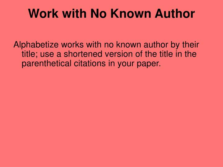 Work with No Known Author
